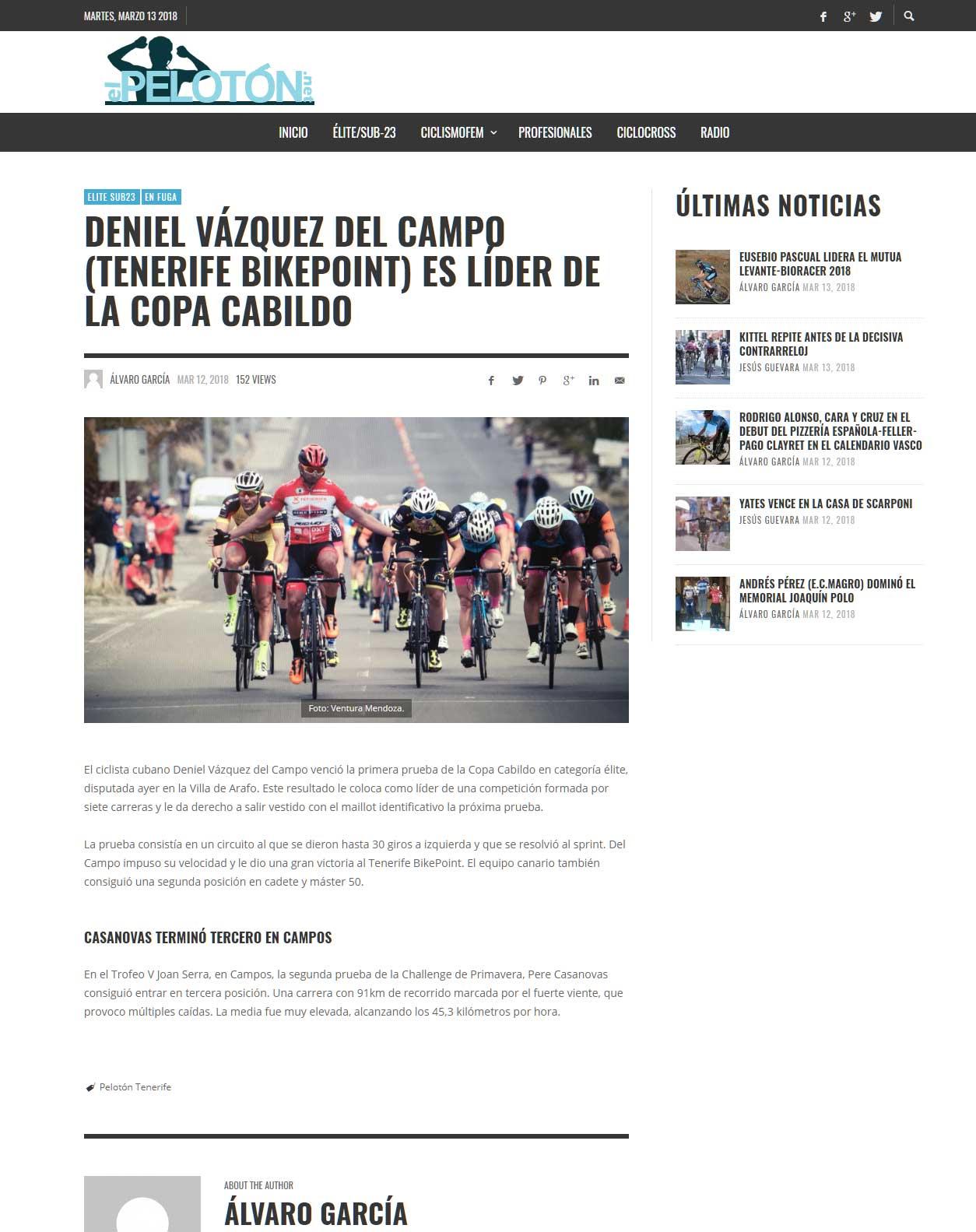 Deniel Vázquez Del Campo (tenerife Bikepoint) Es Líder De La Copa Cabildo