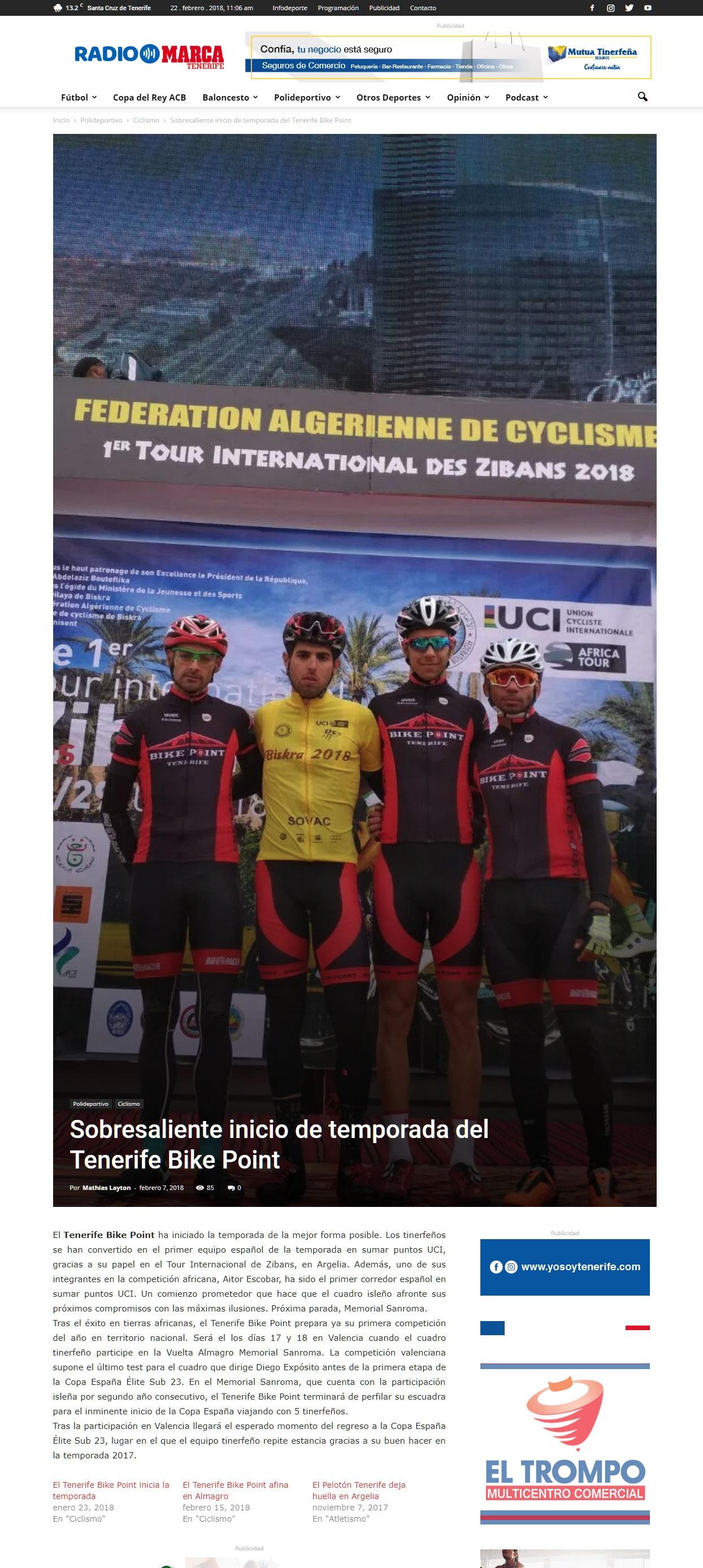 Radio Marca Tenerife -Sobresaliente inicio de temporada del Tenerife Bike Point