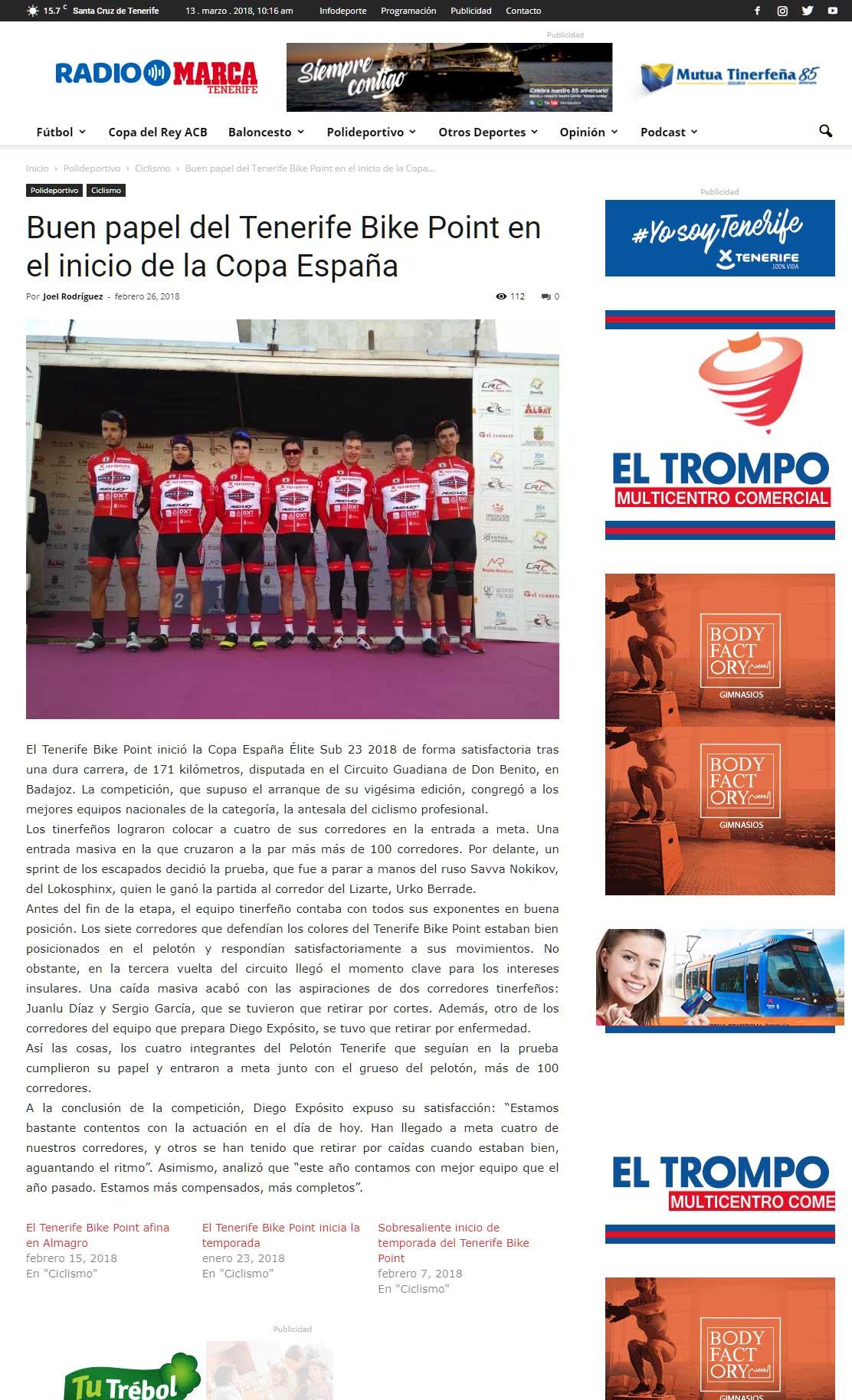 Buen Papel Del Tenerife Bike Point En El Inicio De La Copa España