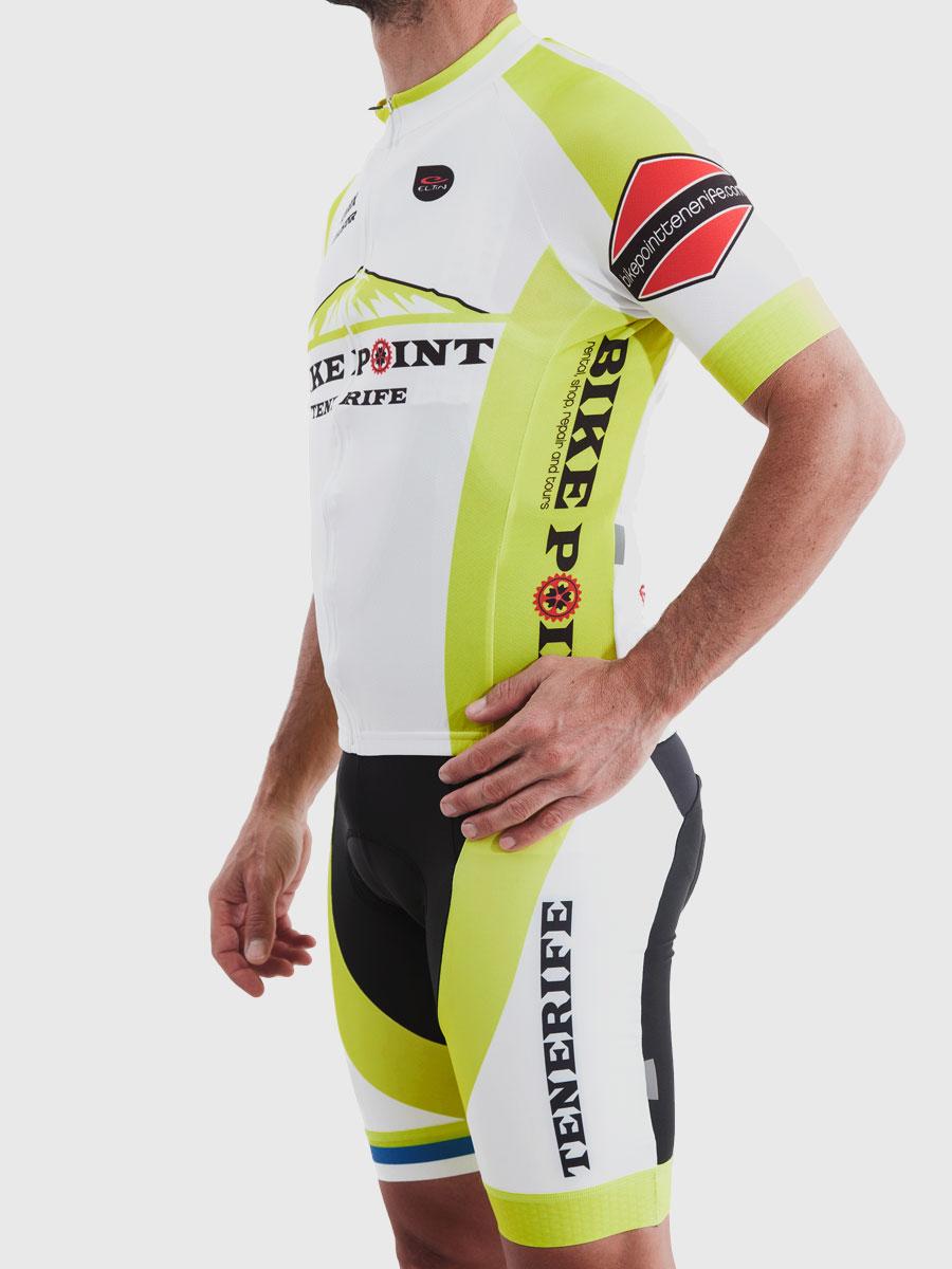 Bike Point Male White Yellow Jersey Left Bike Point Tenerife Bike Hire & Bike Rental