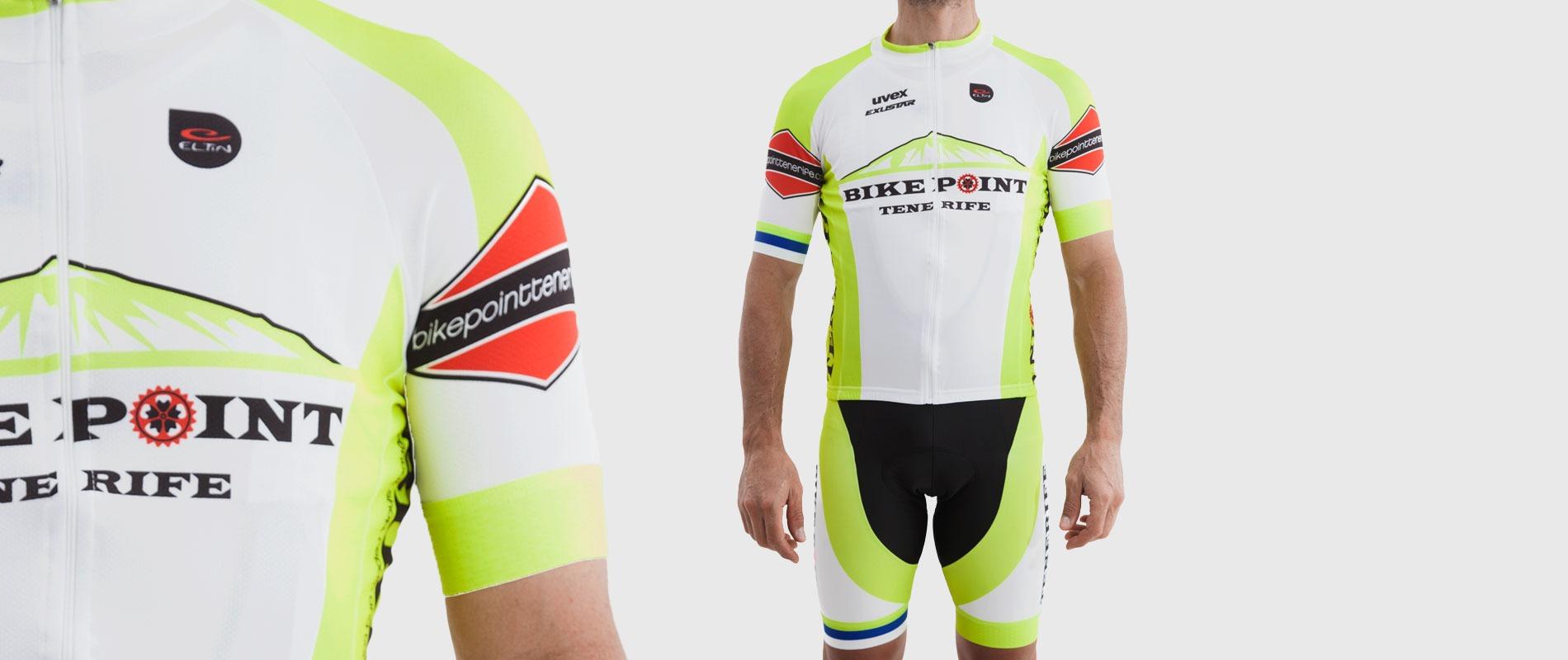 Bike Point Male White Yellow Jersey Splash Bike Point Tenerife Bike Hire & Bike Rental